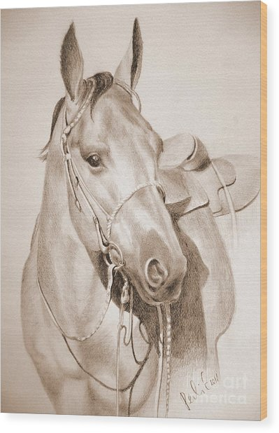 Horse Drawing Wood Print