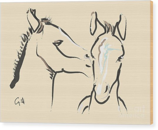 Horse-foals-together 6 Wood Print