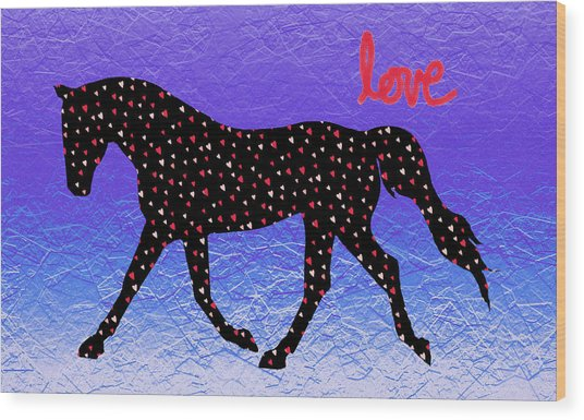Horse Hearts And Love Wood Print