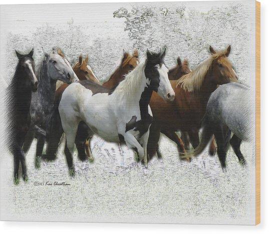 Horse Herd #3 Wood Print