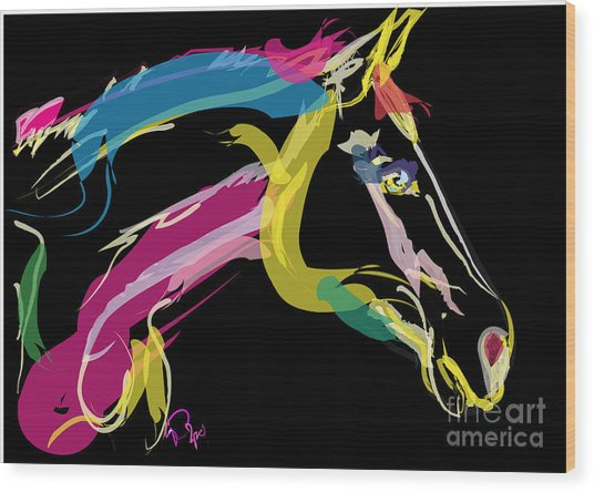 Horse- Lovely Colours Wood Print