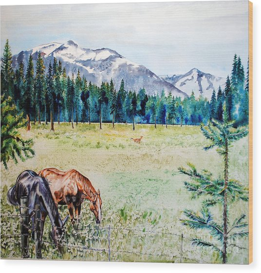 Horse Meadow Wood Print by Tracy Rose Moyers