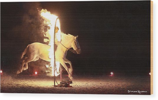Wood Print featuring the photograph Horse On Fire by Stwayne Keubrick