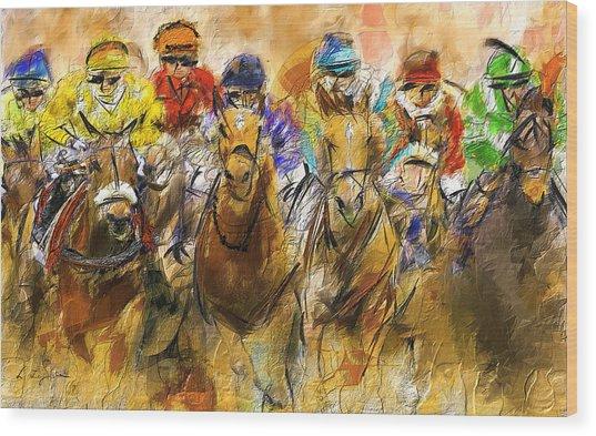 Horse Racing Abstract Wood Print