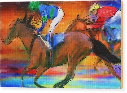 Horse Racing II Wood Print