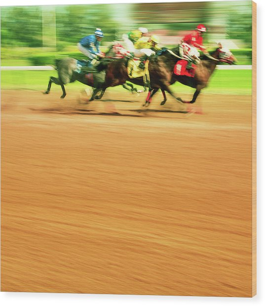 Horse Racing Wood Print by Thepalmer