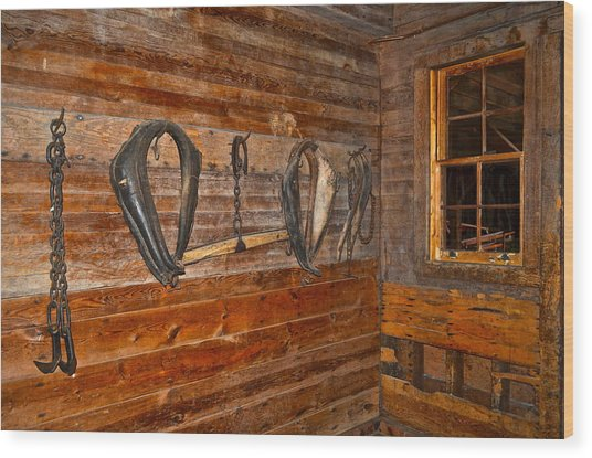 Horse Stable Wood Print