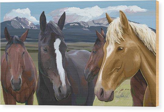 Horse Talk Wood Print