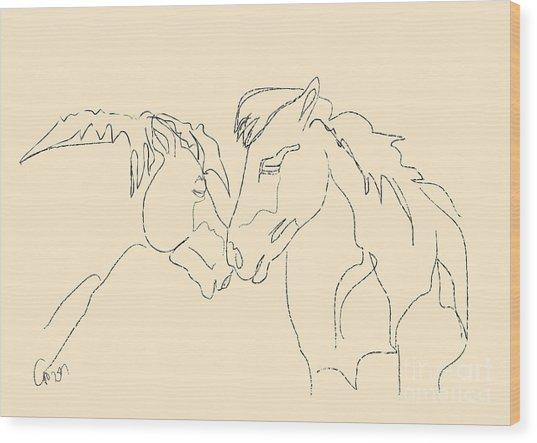 Horse - Together 3 Wood Print