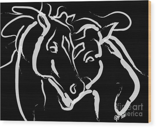 Horse- Together 5 Wood Print