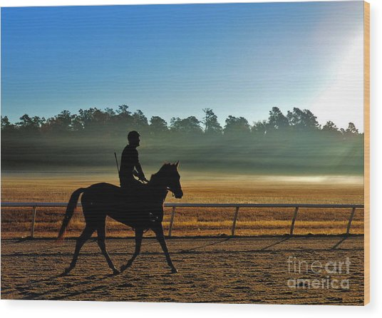 Horse Training At The Winter Colony Wood Print