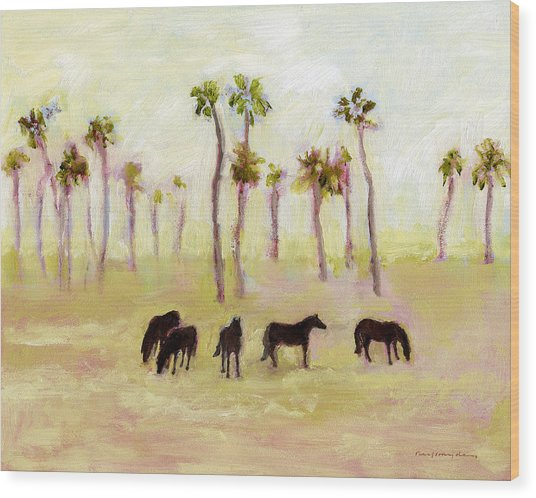 Horses And Palm Trees Wood Print
