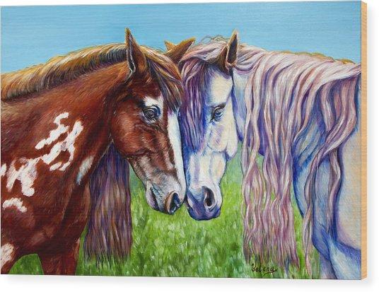 Horses Frolicking  Wood Print