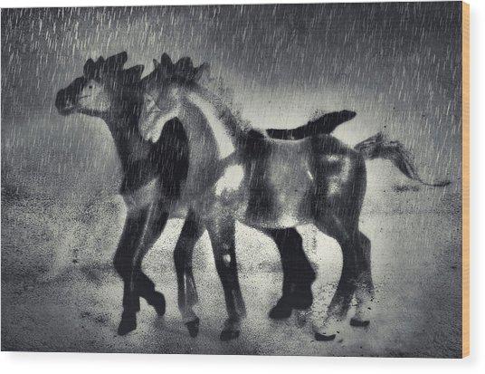 Horses In Twilight Wood Print