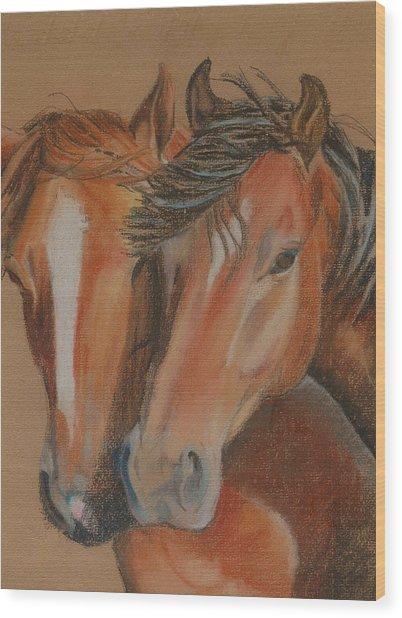 Horses Looking At You Wood Print