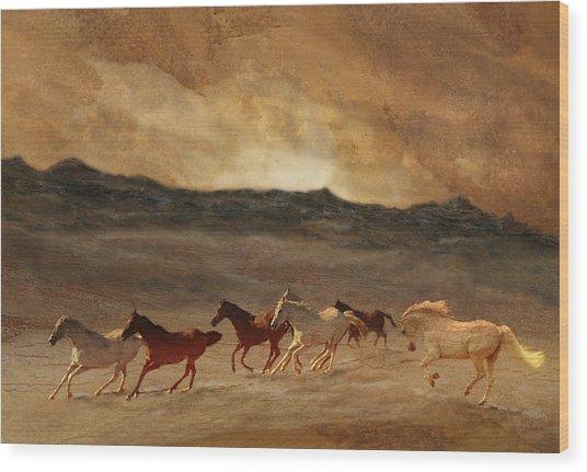 Horses Of Stone Wood Print
