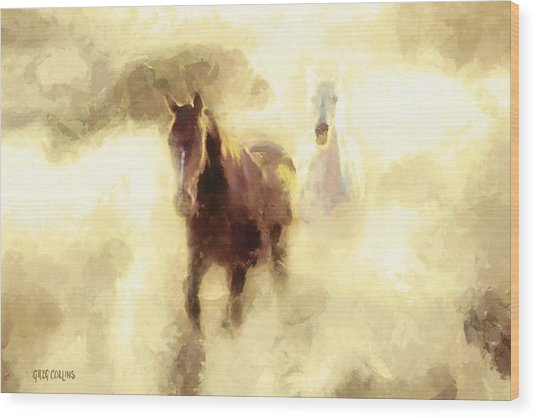 Horses Of The Mist Wood Print