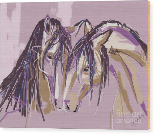 horses Purple pair Wood Print