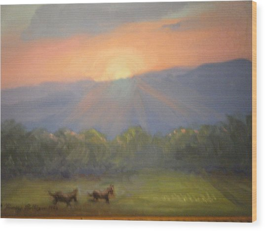 Horses Running Free Wood Print by Patricia Kimsey Bollinger