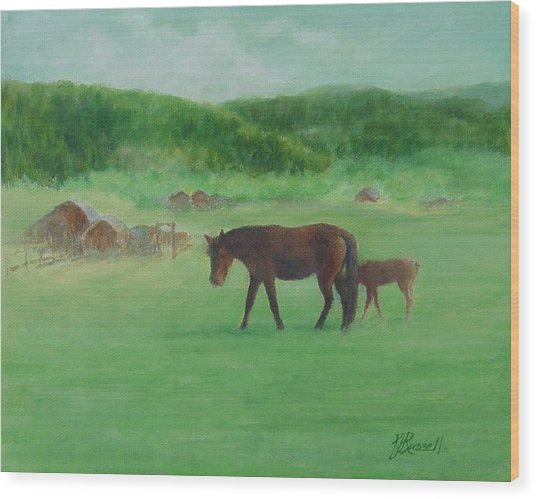 Horses Rural Pasture Western Landscape Original Oil Colorful Art Oregon Artist K. Joann Russell Wood Print