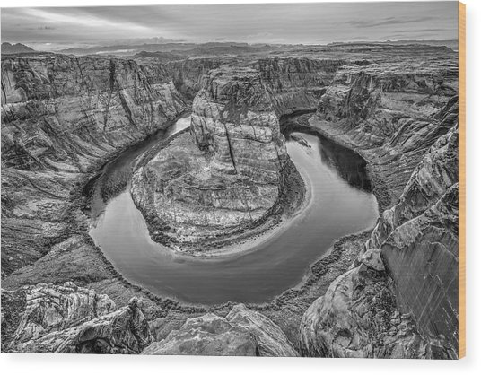 Horseshoe Bend Arizona Black And White Wood Print