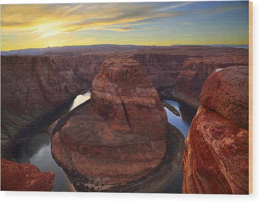 Horseshoe Bend At Sunset Wood Print