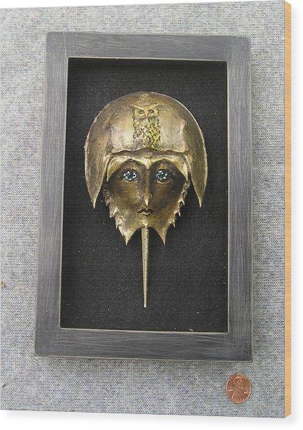 Horseshoe Crab Mask In Grey  Frame Wood Print