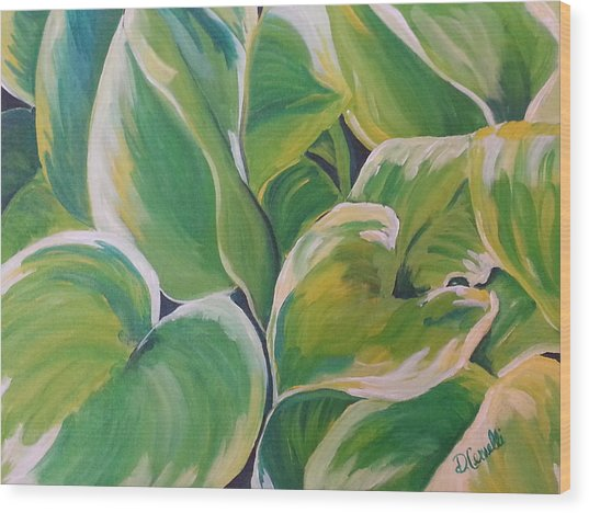 Hosta Garden Wood Print