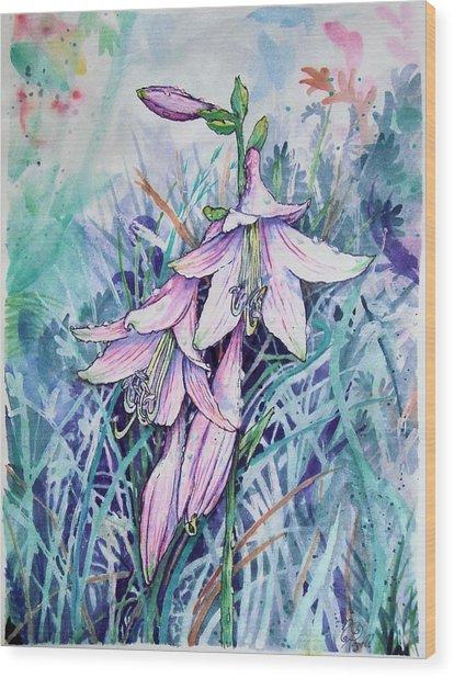 Hosta's In Bloom Wood Print