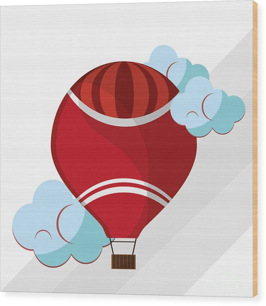 Hot Air Balloon Graphic , Vector Wood Print by Jemastock