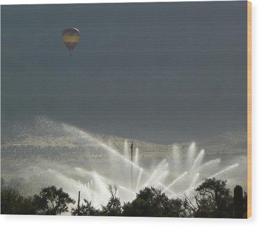 Hot Air Balloon Over Utah Farm Wood Print