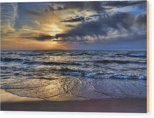Hot April Sunset Saugatuck Michigan Wood Print