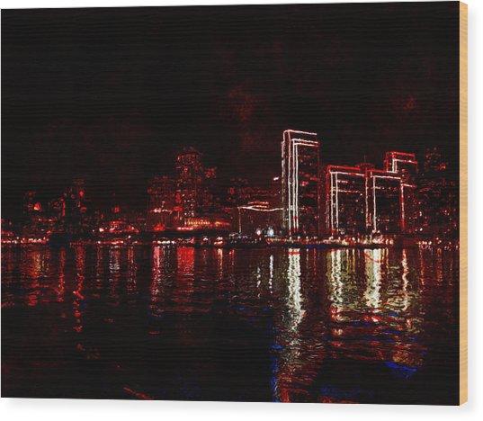 Hot City Night Wood Print