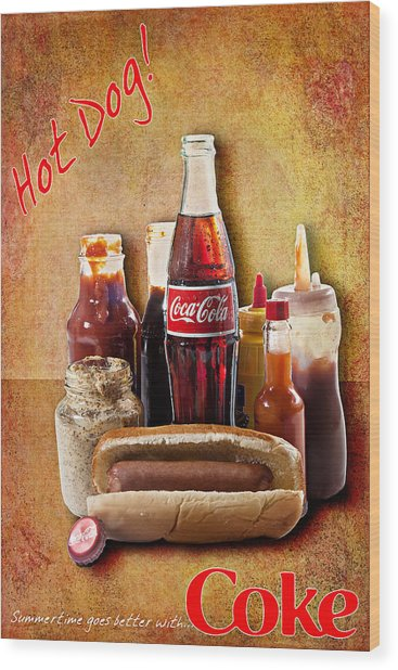 Hot Dog And Cold Coca-cola Wood Print