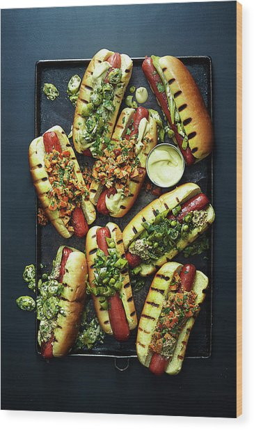 Hot Dogs With Relish Wood Print by Photograph By Eric Isaac