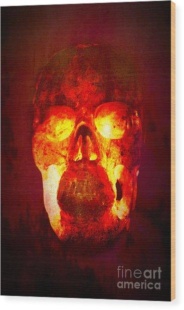 Hot Headed Skull Wood Print
