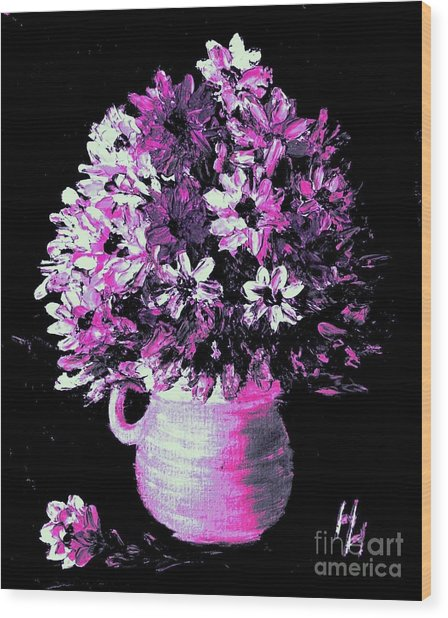 Hot Pink Flowers Wood Print