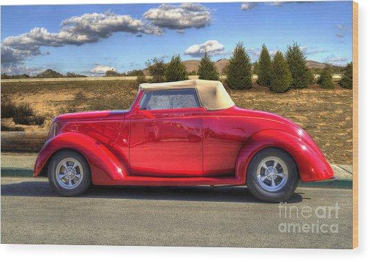 Hot Red Car Wood Print