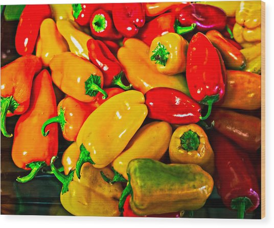 Hot Red Peppers Wood Print
