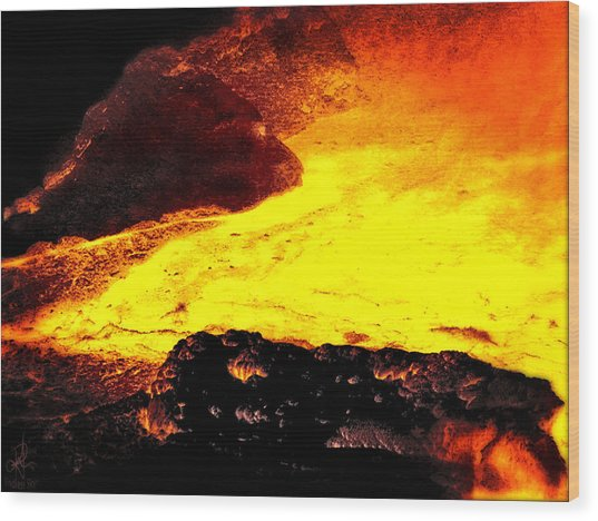 Hot Rock And Lava Wood Print