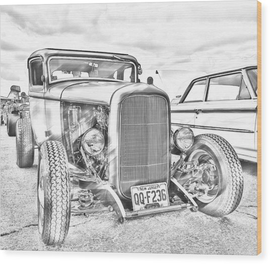 Hot Rod Faux Sketch Wood Print