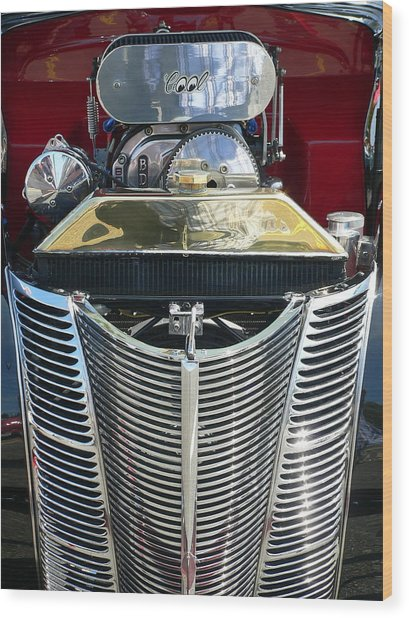 Wood Print featuring the photograph Hot Rod Polished Steel Engine And Grill by Jeff Lowe