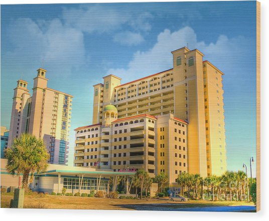 Hotel In Downtown Myrtle Beach Wood Print