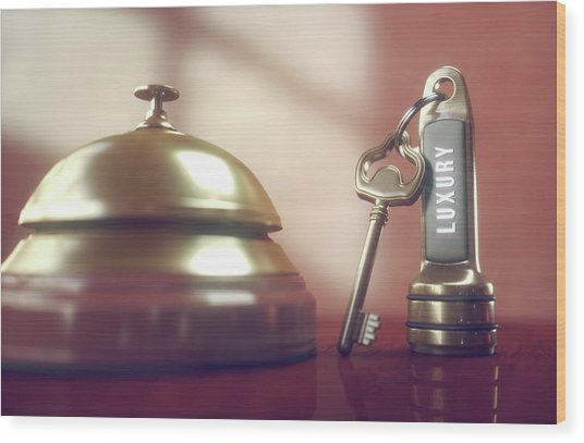 Hotel Key And Bell Wood Print by Ktsdesign/science Photo Library