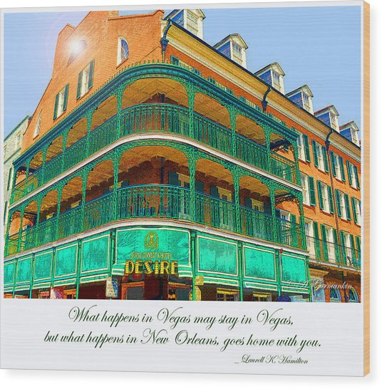 Hotel On Bourbon Street New Orleans Louisiana Wood Print