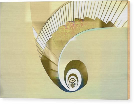 Hotel Staircase Lisbon Wood Print by Indiana Zuckerman