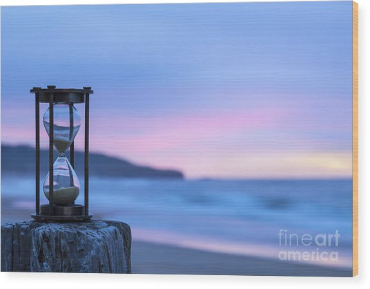 Hourglass Twilight Sky Wood Print