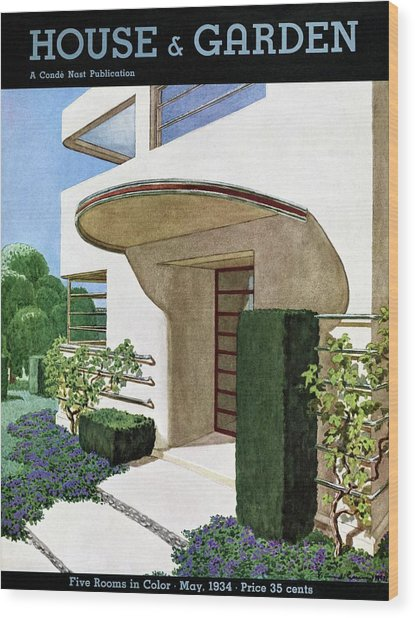 House & Garden Cover Illustration Of A Modern Wood Print