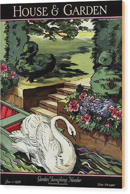 House & Garden Cover Illustration Of A Swan Wood Print