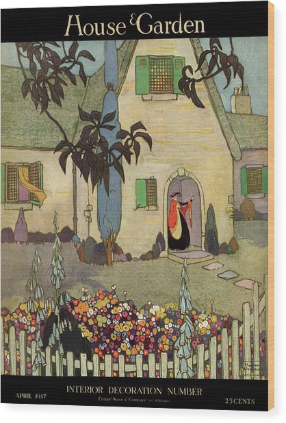 House & Garden Cover Illustration Of An Wood Print